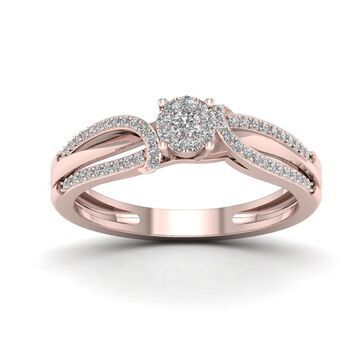 De Couer 1/5ct TDW Diamond Cluster Engagement Ring - Pink (7.5 - Rose)