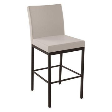 Amisco Perry Plus Wide Seat Stool, Textured Dark Brown/Beige, Bar Height