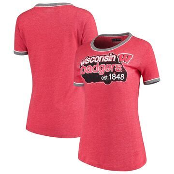 Women's 5th & Ocean by New Era Heathered Red Wisconsin Badgers Retro Ringer Tri-Blend T-Shirt