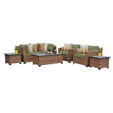 TK Classics Laguna 7-Piece Outdoor Wicker Sofa Set, Cilantro