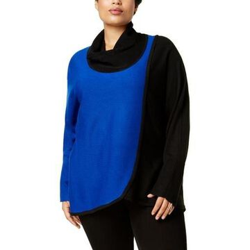 NY Collection Womens Plus Cowl Neck Dolman Sleeves Pullover Sweater