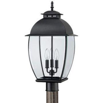 Quoizel Bain Outdoor Post Lantern in Mystic Black