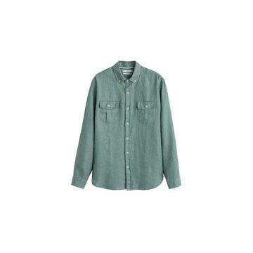 MANGO MAN - 100% linen regular fit shirt khaki - XS - Men