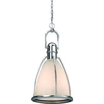 Volume Lighting Brushed Nickel Modern/Contemporary White Glass Cone Medium (10-22-in) Pendant Light   V1833-33