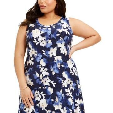 Jm Collection Plus Size Printed Jacquard Tank Top, Created for Macy's