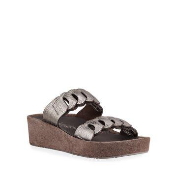 Leona Metallic Two-Band Slide Sandals