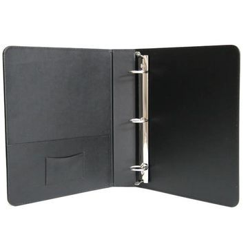 Royce Leather 1.5 Inch Ring Binder in Genuine Leather (BLACK)
