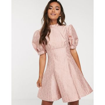 Keepsake wonder brocade puff sleeve mini dress-Pink