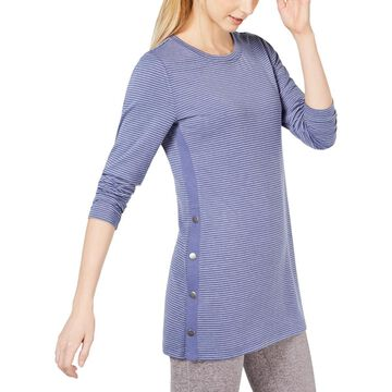 Ideology Womens Striped Button Pullover Top