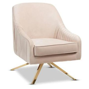 Baxton Studio Velvet Upholstered Amaya Chair in Light Beige/Gold