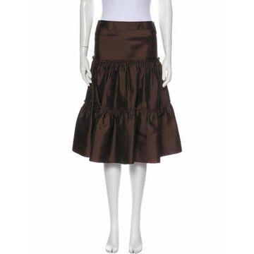 Ruffle Embellishment Knee-Length Skirt Brown