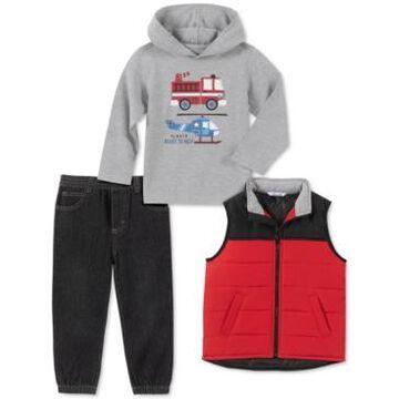Kids Headquarters Baby Boys 3-Pc. Colorblocked Vest, Hoodie & Denim Jogger Pants Set