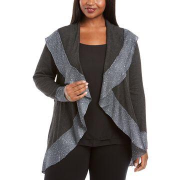 Plus Size Sequin Trim Cardigan