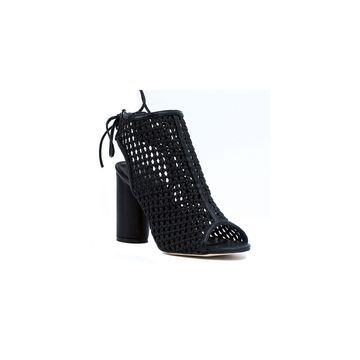 GC Shoes Womens Miami Peep Toe Block Heel Lace-up Pumps