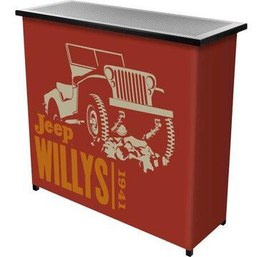 Portable Bar-Collapsible Indoor Outdoor, Pop-Up Drink Station with Jeep Willys Red-Patio, Garage or Man Cave Accessories