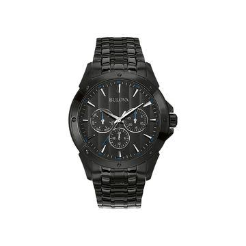 Bulova Classic Mens Multi-Function Black Stainless Steel Bracelet Watch-98c121