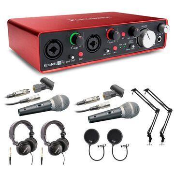 Focusrite Scarlett 2i4 (2nd Gen) USB Audio Interface Podcast Bundle