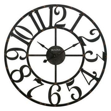 Bulova Gabriel Wall Clock in Rustic Brown
