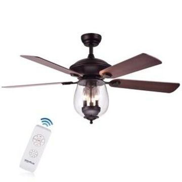 Warehouse of Tiffany Tibwald Wood Glass 52-inch 5-blade Lighted Ceiling Fan (Optional Remote) - Brown (Traditional - Remote - Candelabra)