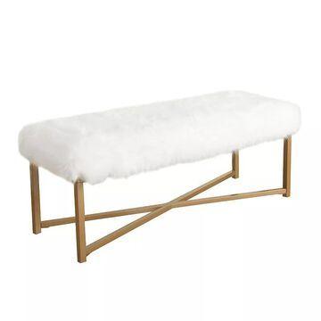 HomePop Faux-Fur Bench, White