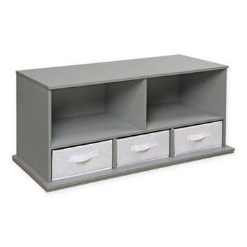 Badger Basket 3-Basket Stackable Shelf Storage Cubby in Grey