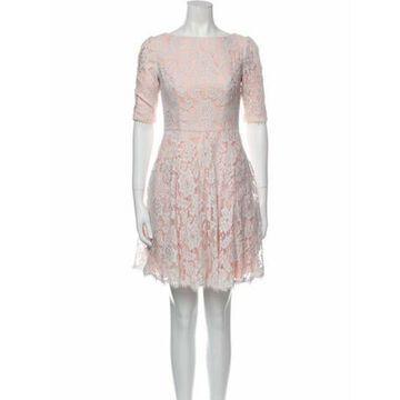 Lace Pattern Mini Dress Pink