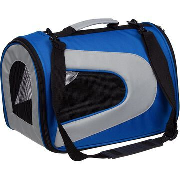 Pet Life Folding Zippered Sporty Mesh Pet Carrier in Blue & Gray
