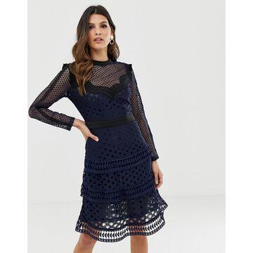 Y.A.S laser cut lace tiered mini dress