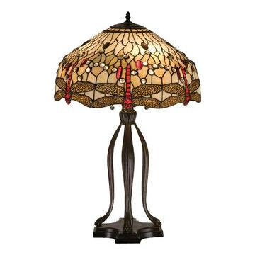 17500 30.5 Inch H Tiffany Scarlet Dragonfly Table Lamp