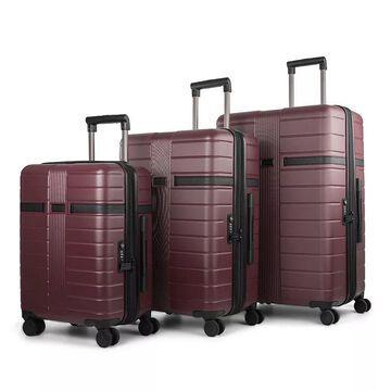 Bugatti Hamburg Hard Side 3-Piece Luggage Set, Red, 3 Pc Set