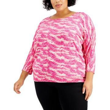 Jm Collection Plus Size Printed Banded Top, Created for Macy's
