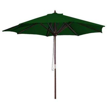 Jordan Manufacturing 9' Wooden Market Umbrella, Green