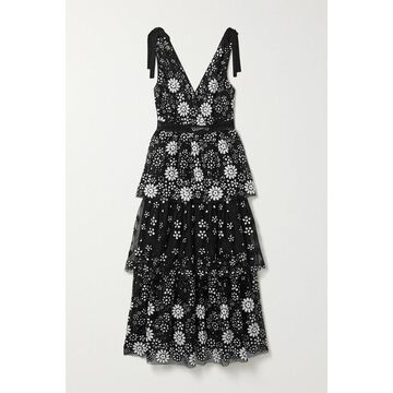 Self-Portrait - Tiered Crochet And Grosgrain-trimmed Sequined Tulle Midi Dress - Black