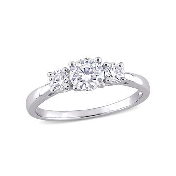 1 Carat T.G.W. Moissanite Sterling Silver Three-Stone Engagement Ring