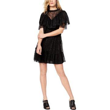 Kensie Womens Mini Dress Lace Cut-Out