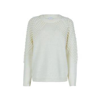 **Vila White Textured Knitted Cowl Neck Jumper