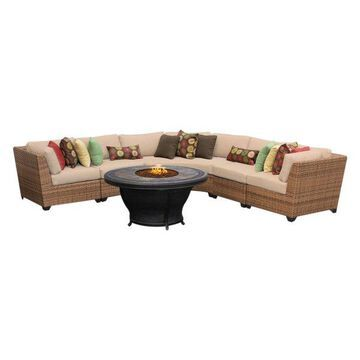 TK Classics Laguna 6-Piece Outdoor Wicker Sofa Set, Wheat