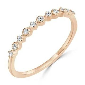 Auriya 10k Gold 1/10ctw Petite Stackable Accent Diamond Wedding Band Ultra-thin (Rose - 9)