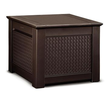 Rubbermaid 28.5-in L x 28.5-in 56-Gallon Dark Teak Deck Box