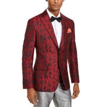 Tallia Orange Men's Slim-Fit Red/Black Abstract Evening Jacket