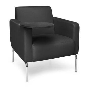 OFM Triumph Series Model 3002T Polyurethane Modular Lounge Chair with Arms and Tungston Tablet, Black