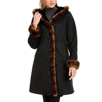 Faux-Shearling Trim Hooded Coat