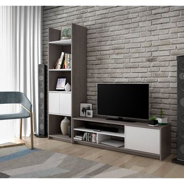 Bestar Small Space 2-Piece TV Stand and Storage Tower Set