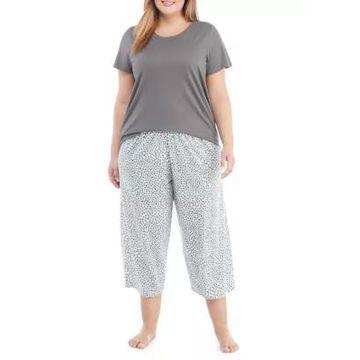 Hue Women's Plus Size Snow Leopard Pajama Set - -
