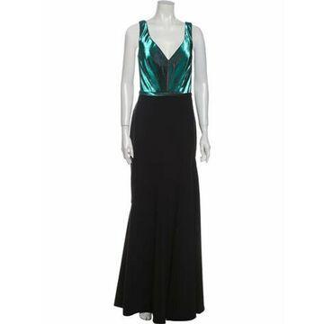 Plunge Neckline Long Dress Black