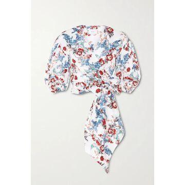 Erdem - Cyllene Cropped Floral-print Cotton-poplin Wrap Top - White