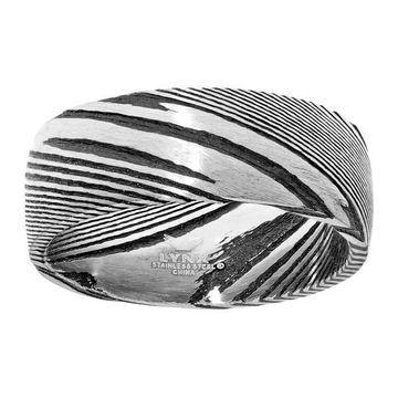 Men's LYNX Damascus Steel Black Ion Ring
