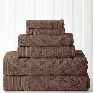 Pacific Coast Textiles 6-piece Jacquard Medallion Swirl & Solid Mix & Match Towel Set, Brown, 6 Pc Set