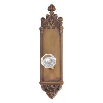 Gothic Plate Passage Door Set, Aged Brass, 3-3/8