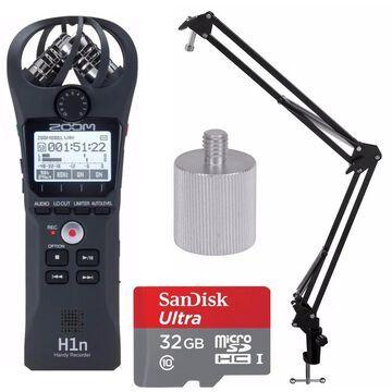Zoom H1n Digital Handy Recorder with Boom Arm Stand & 32GB Card Bundle - Black